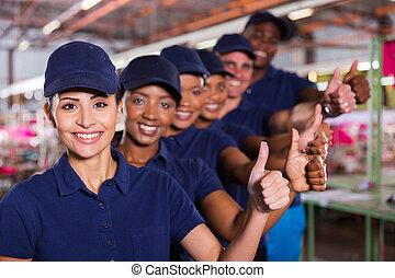 donner, ouvriers, haut, textile, pouces, équipe