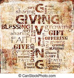 donner, partage, offrande, fond