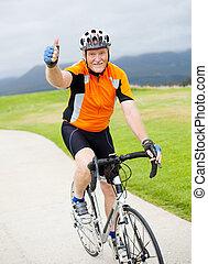 donner, personne agee, cycliste, haut, pouce