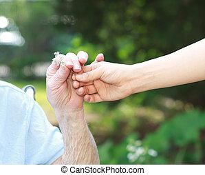 donner, personne agee, fleur, dame