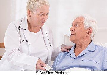 donner, personne agee, malade infirmière, pilules