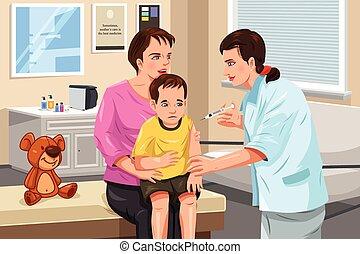 donner, peu, coup, pédiatre, enfant