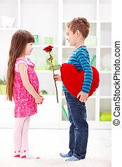 donner, peu, fleur, petit ami