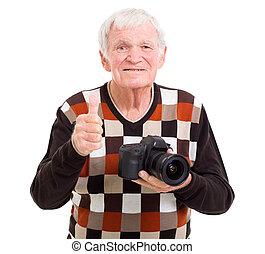 donner, photographe, personne agee, pouce haut