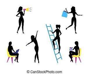 donner, plat, femme, caractères, filles, présente, fun., ensemble, dessin animé, différent, silhouettes., achats, concept, employé, gens, situations., illustration, poses, style., soi, vecteur, travail, avoir