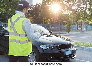 donner, police, amende, violation, officier, stationnement