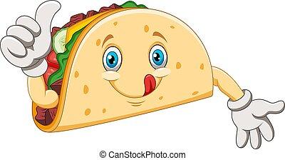 donner, pouces, dessin animé, haut, taco