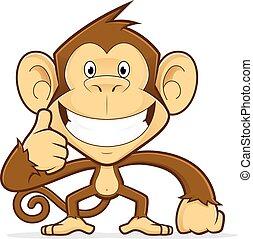 donner, pouces haut, singe