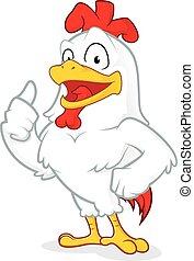 donner, poulet, pouces haut