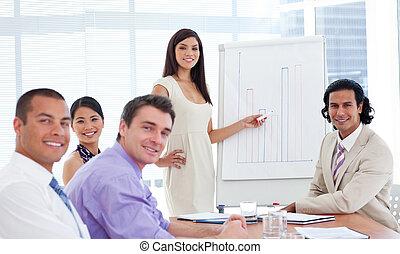 donner, présentation, élégant, femme affaires