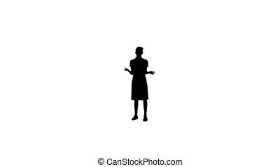 donner, présentation, femme, silhouette