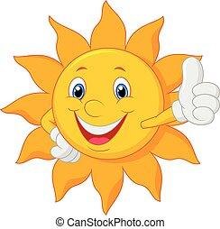 donner, soleil, pouce, dessin animé, haut