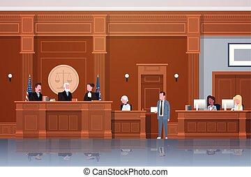 donner, suspect, intérieur, avocat, secrétaire, ou, avocat, salle audience, tribunal, horizontal, séance, entiers, droit & loi, parole, longueur, moderne, processus, juge