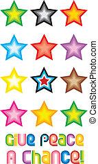 donner, symbole, paix, -, chance, étoiles