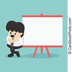 donner, texte, présentation, planche, homme affaires