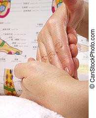 donner, thérapie, femme, zone, mains