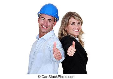 donner, thumb's, commerçant, haut, ingénieur