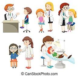 donner, traitement, médecins, malades