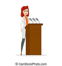 donner, tribune, parole, docteur féminin