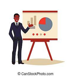 donner, utilisation, présentation, planche, homme affaires