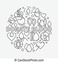 donnez sang, illustration, rond