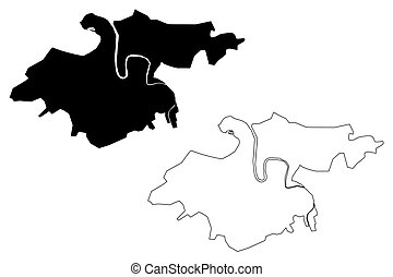 Donostia-San Sebastian City (Kingdom of Spain, Basque Country) map vector illustration, scribble sketch City of Donostia San Sebastian map