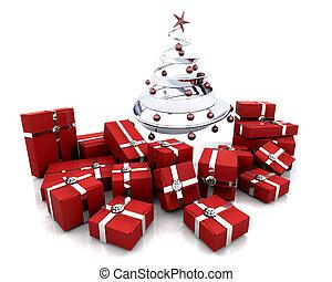 dons, arbre, noël, sous