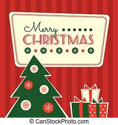 dons, arbre, retro, carte, noël