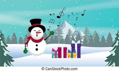 dons, bonhomme de neige, joyeux, heureux, carte, noël