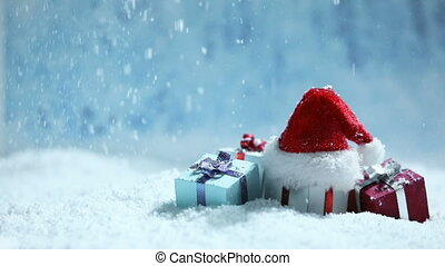 dons, chapeau, neige, santa
