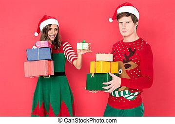 dons, couple, chapeaux, santa