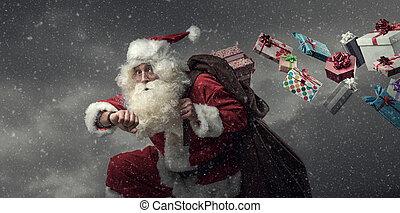 dons, courant, claus, santa, livrer