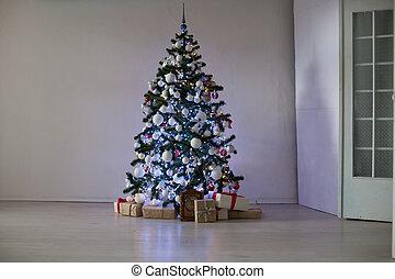 dons, décoré, arbre, salle, noël