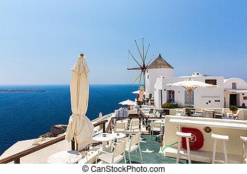 dons, duidelijke lucht, -, baai, fira, greece., trappen, ...