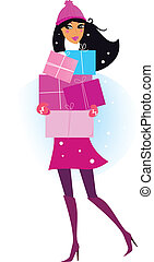 dons, femme, hiver