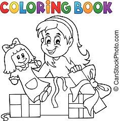 dons, girl, livre coloration, poupée