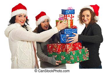 dons, heureux, amis, noël, pile