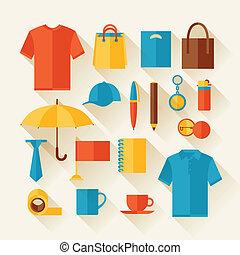 dons, icône, ensemble, souvenirs., promotionnel