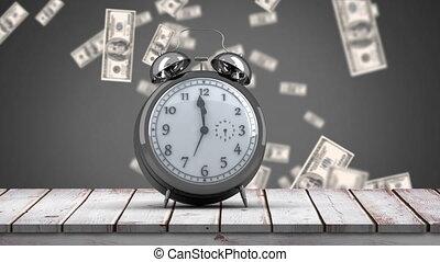 dons, klok ticking, het vallen, houtenvloer, dollars