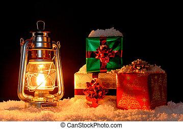 dons, lampe, huile, neige, noël