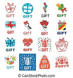 dons, logos, grand, ensemble, vecteur