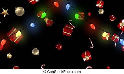 dons, lumières, décorations, noël, tomber