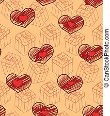 dons, modèle, cœurs, seamless, valentin