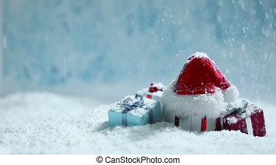 dons, neige, chapeau, santa