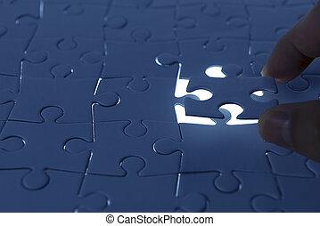 dons, puzzelstuk, komst, het is
