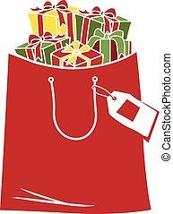 dons, sac, achats, noël, illustration