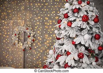 dons, salle, neigeux, mur, arbre, décoration, lumières, bokeh, intérieur, vacances, home., noël, rouges, avant