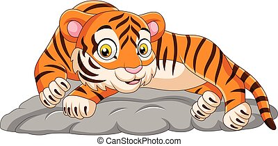 dons, tiger, steen, het leggen, spotprent