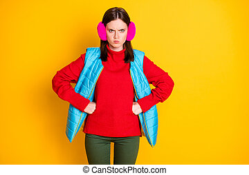 Dont do that. Photo of grumpy aggressive angry girl have quarrel with young sister feel anger about her behavior wear season pants isolated over bright color background