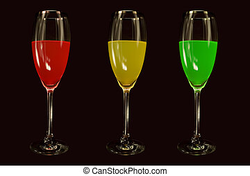 Dont Drink and Drive - Red, Yellow ,Green Liquor illustrate ...